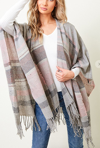 $15.75 - Cute cheap top - shawl wrap with stripe pattern