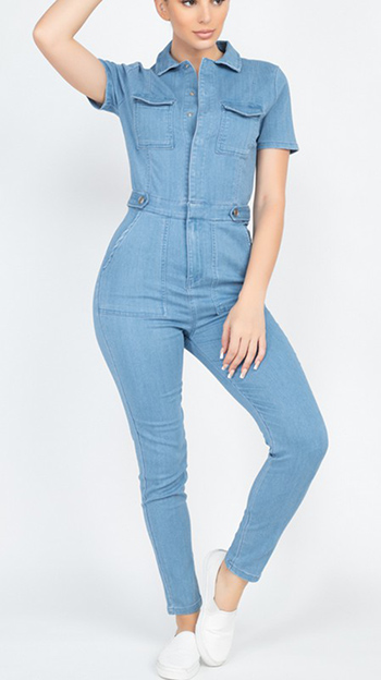 $24.50 - Cute cheap Short Sleeve Utility Knit Denim Jumpsuit