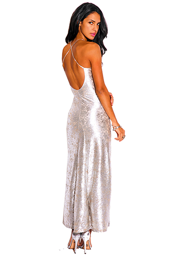 $15 - Cute cheap backless open back formal maxi dress - light silver metallic baroque print bejeweled backless formal evening cocktail sexy party maxi dress