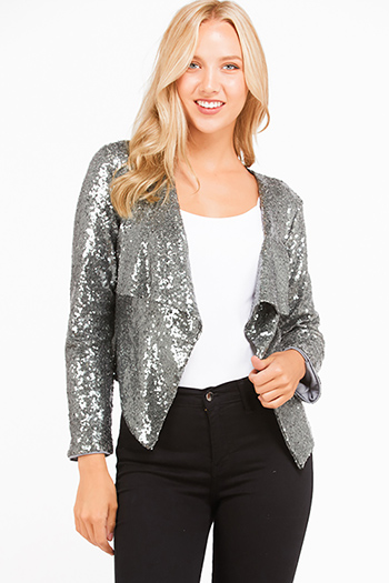 $22 - Cute cheap dark blue washed denim high waisted frayed hem tiered boho jean mini skirt - Silver sequin long sleeve open front cocktail sexy party boho holiday blazer jacket