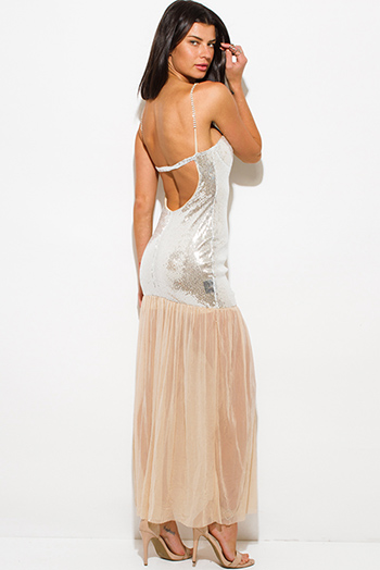 $20 - Cute cheap bright white crochet gauze strapless maxi dress - silver sequined bustier backless bejeweled formal evening cocktail sexy party mesh maxi dress