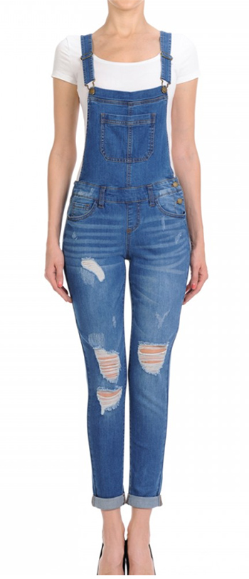 $22.50 - Cute cheap skinny denim overalls with destruction and rolled cuffs whiskers and hand-sanding