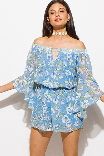 $15 - Cute cheap ruched jumpsuit - sky blue chiffon floral print off shoulder bell sleeve keyhole front boho romper playsuit jumpsuit