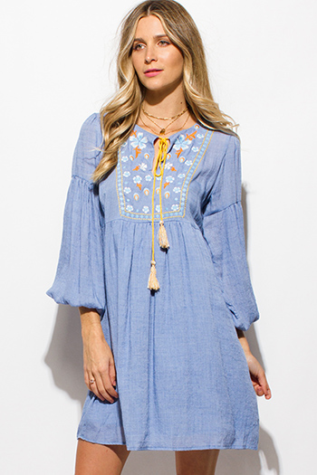 $15 - Cute cheap navy blue tie dye bow print button up sashed quarter sleeve mini shirt dress - sky blue floral embroidered long bubble sleeve boho peasant shift mini dress