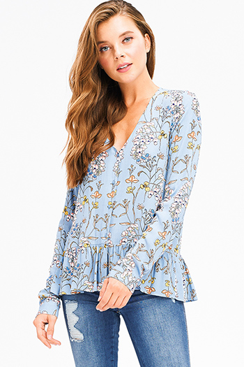 $15 - Cute cheap blue washed denim ripped distressed high waisted crop boyfriend jeans - sky blue floral print long sleeve v neck ruffle hem boho blouse top