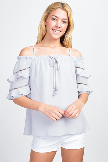 $15 - Cute cheap print chiffon blouse - Slate grey off shoulder ruffle tiered quarter sleeve boho blouse top