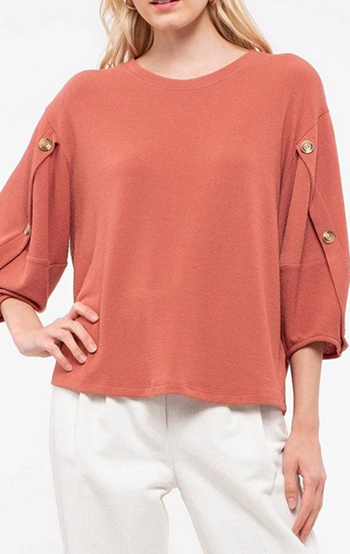 $24.50 - Cute cheap sleeve button knit top