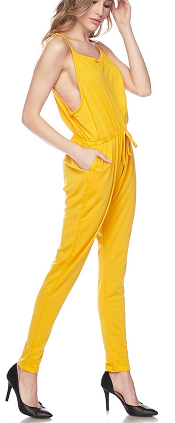 $17.50 - Cute cheap pocketed jumpsuit - sleeveless drawstring lounge pocketed harem jogger jumpsuit