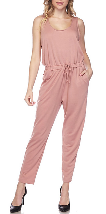 $20.00 - Cute cheap sleeveless drawstring tie waist pocketed harem jogger jumpsuit