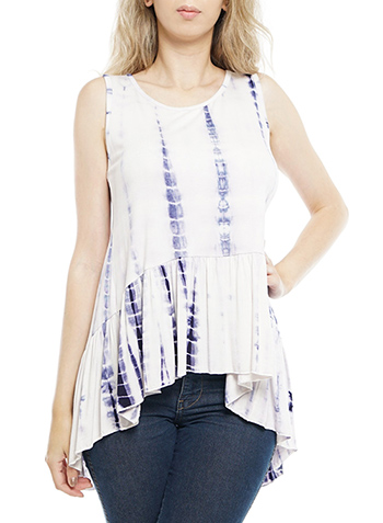 $14.95 - Cute cheap chiffon top - sleeveless open tie-back knot, tie-dye top