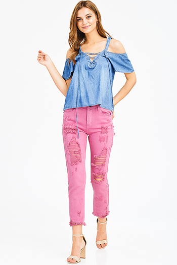 $20 - Cute cheap dark blue washed denim low rise fringe trim ankle fitted skinny jeans - smoky pink mid rise distressed ripped frayed hem ankle fitted boyfriend jeans