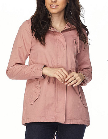 $27.00 - Cute cheap Solid color, hooded, 2 pocket, military style jacket with drawstring detail, button trim, and zipper closure.