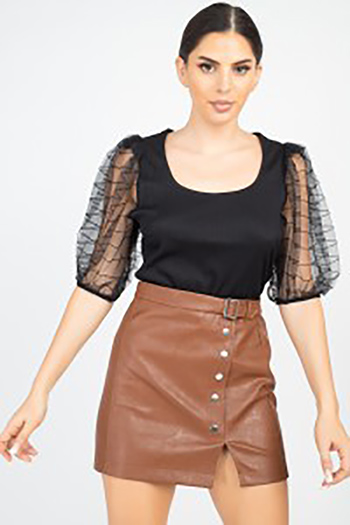 $11.75 - Cute cheap miami outfits - square necksolid puff top