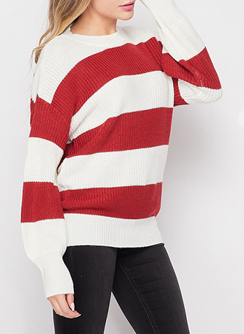 $21.00 - Cute cheap sweater top - Sstriped long balloon sleeve sweater