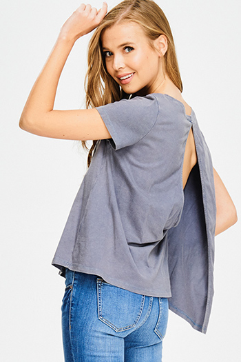 $10 - Cute cheap blue pinstripe rose patch ruffle tiered strapless boho tunic top - stone blue acid washed short sleeve cut out back vent tee shirt top