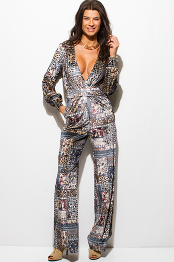 $20 - Cute cheap print sexy party jumpsuit - stone gray abstract ethnic print velvet long sleeve v neck pocketed wide leg evening jumpsuit