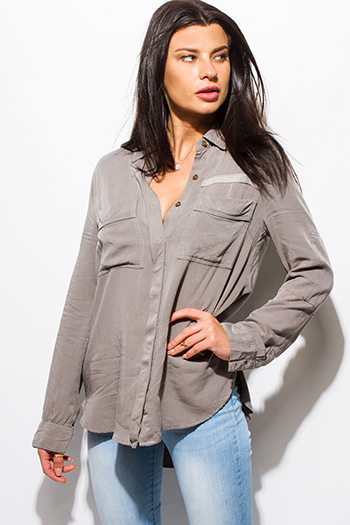 $20 - Cute cheap light blue washed denim quarter sleeve snap button up blouse top - stone gray acid wash tie dye elbow patch button up boho blouse top
