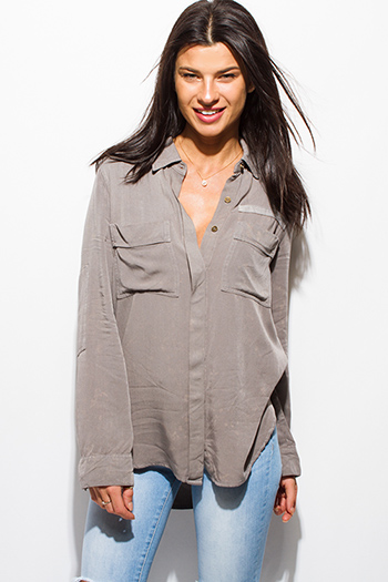 $20 - Cute cheap chiffon ruffle boho blouse - stone gray acid wash tie dye elbow patch button up boho blouse top