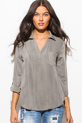 $15 - Cute cheap navy blue plaid cotton gauze quarter sleeve button up blouse top - stone gray acid wash tie dye long sleeve indian collar boho blouse top