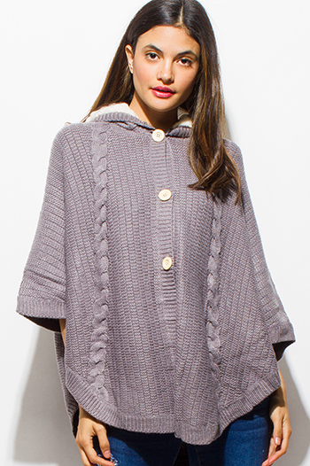 $15 - Cute cheap penny stock dark gray cropper bomber jacket 84796 - stone gray cable knit sweater hooded button up cape poncho jacket