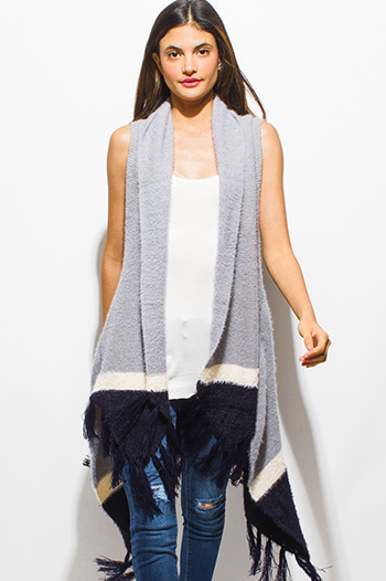 $20 - Cute cheap career wear - stone gray color block fringe trim open front fuzzy sweater knit boho duster cardigan vest top
