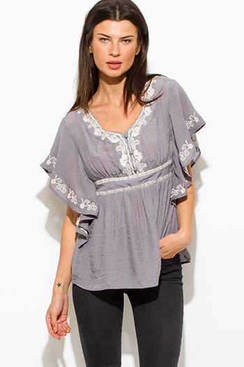$15 - Cute cheap navy blue plaid cotton gauze quarter sleeve button up blouse top - stone gray cotton gauze embroidered butterfly sleeve empire waist boho peasant top