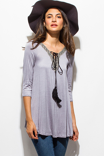 $15 - Cute cheap caged boho tank top - stone gray embroidered tassel tie quarter sleeve boho top