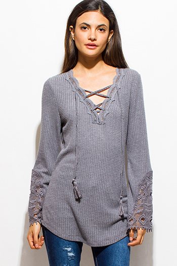 $15 - Cute cheap sheer slit boho top - stone gray long sleeve crochet laceup tassel front thermal knit boho top
