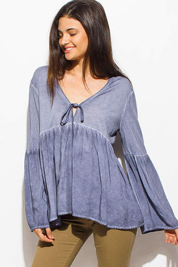 $15 - Cute cheap blue pinstripe rose patch ruffle tiered strapless boho tunic top - stone gray long tiered bell sleeve keyhole tie front empire boho top