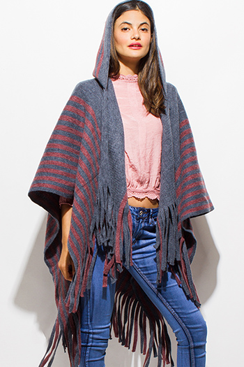 $20 - Cute cheap navy blue red color block zip up mesh lined hooded pocketed windbreaker jacket - stone gray red striped hooded fuzzy fringe trim boho knit poncho sweater cardigan tunic top