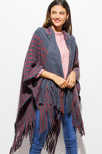 $25 - Cute cheap burgundy red stripe sweater knit high low hem boat neck dolman sleeve poncho tunic top - stone gray red striped hooded fuzzy fringe trim boho knit poncho sweater cardigan tunic top