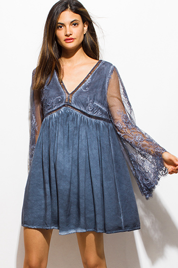 $15 - Cute cheap blue chiffon boho dress - stone gray sheer lace long bell sleeve acid wash boho cocktail sexy party swing mini dress