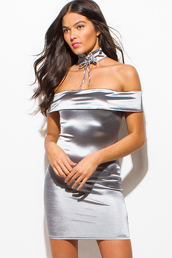 $12 - Cute cheap black crochet dress - stone gray silver metallic satin choker off shoulder bodycon fitted sexy club mini dress