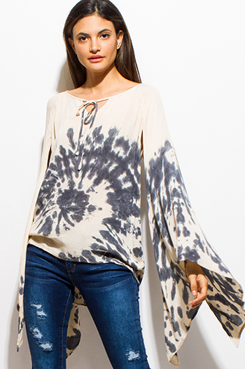 $20 - Cute cheap lace sheer long sleeve top - stone gray tie dye long slit angel bell sleeve peasant boho top