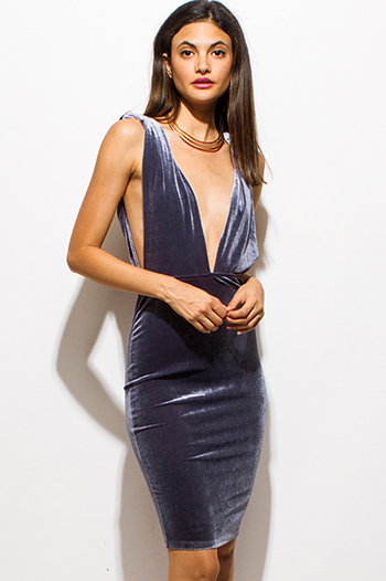 $15 - Cute cheap royal blue fitted sexy party dress - stone gray velvet deep v neck twist strap backless pencil fitted cocktail party mini dress