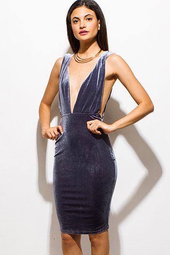 $15 - Cute cheap draped open back dress - stone gray velvet deep v neck twist strap backless pencil fitted cocktail sexy party mini dress