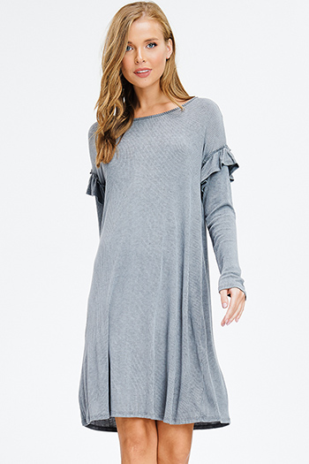 $15 - Cute cheap blue washed denim mid rise distressed frayed ripped skinny fit jeans - stone grey acid washed ribbed knit ruffle trim long sleeve boho midi dress