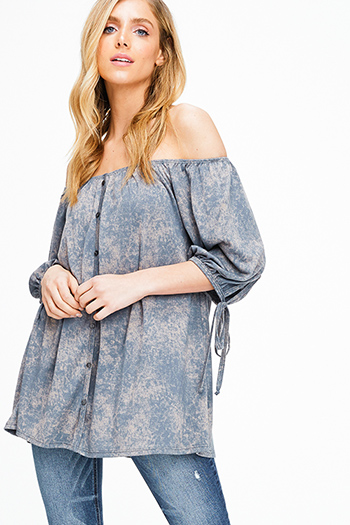 $12 - Cute cheap one shoulder sexy party top - Stone grey acid washed tie dye off shoulder tie sleeve boho top