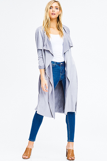 $20 - Cute cheap stone grey faux suede long sleeve waterfall draped open front tie waist duster cardigan