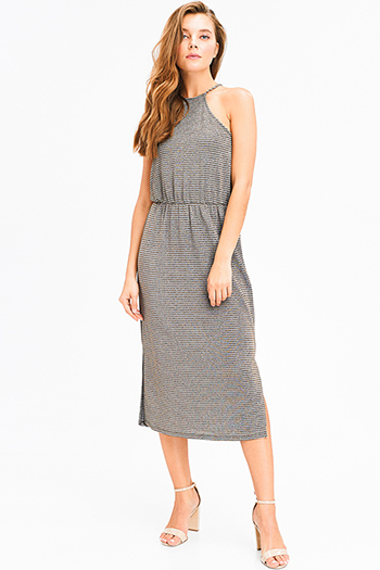 $15 - Cute cheap chambray dress - stone grey gold metallic lurex striped halter racer back side slit sexy party midi dress