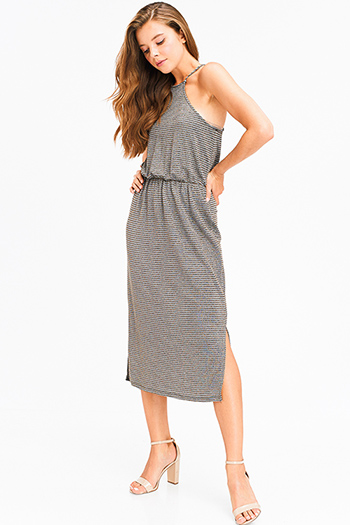 $12 - Cute cheap chambray ruffle dress - stone grey gold metallic lurex striped halter racer back side slit sexy party midi dress