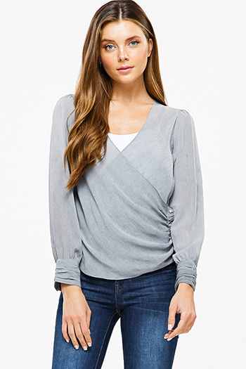 $10 - Cute cheap long sleeve sexy club top - Stone grey long cuffed sleeve ruched side button trim surplice boho blouse top
