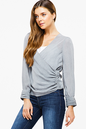 $15 - Cute cheap v neck long sleeve top - Stone grey long cuffed sleeve ruched side button trim surplice boho blouse top