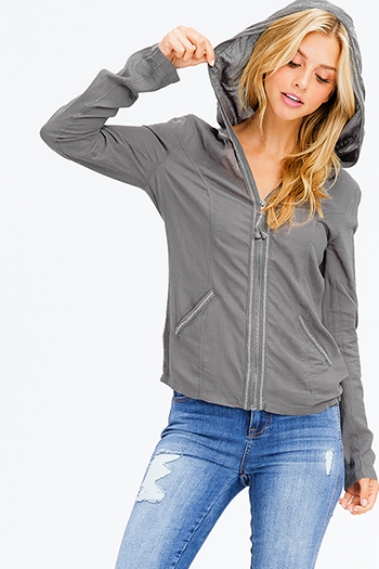 $15 - Cute cheap charcoal gray pinstripe off shoulder ruffle tiered sleeve boho blouse top - stone grey linen long sleeve exposed stitch zip up hooded pocketed boho jacket top