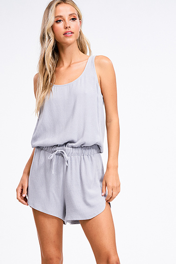 $15 - Cute cheap blue vintage washed denim mid rise distressed floral embroidered fitted straight leg jeans - Stone grey ribbed sleeveless drawstring waist embroidered casual boho romper