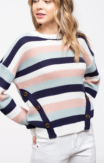 $17.75 - Cute cheap sweater top - striped side button detail knit sweater