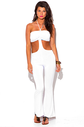 $7 - Cute cheap print backless sexy party top - white cut out rope halter backless fitted summer party jumpsuit