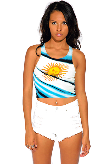 $15 - Cute cheap orange twist strap one shoulder tank top - argentina flag sun graphic print sporty crop tank top