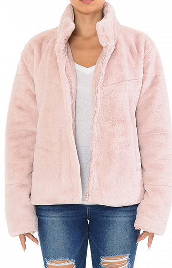 $29.50 - Cute cheap super plush faux fur chevron high neck jacket
