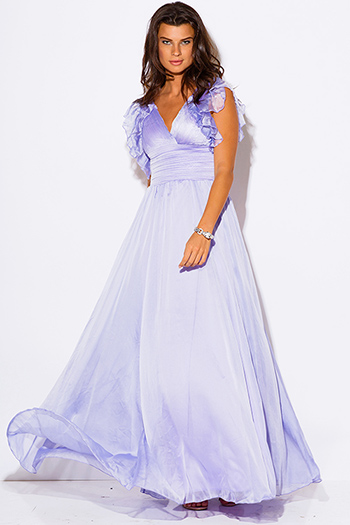 $40 - Cute cheap black chiffon deep v neck double high slit criss cross backless evening sexy party maxi dress - lilac purple chiffon ruffle empire waist backless formal evening party maxi dress